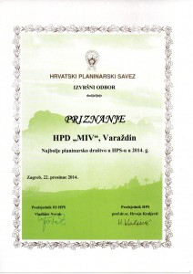 Priznanje HPS-a najboljem Planinarskom društvu 2014.